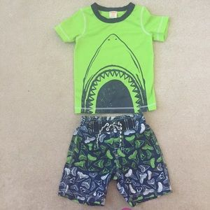 Gymboree Swim Truck and Rashguard Baby 18/24 mo
